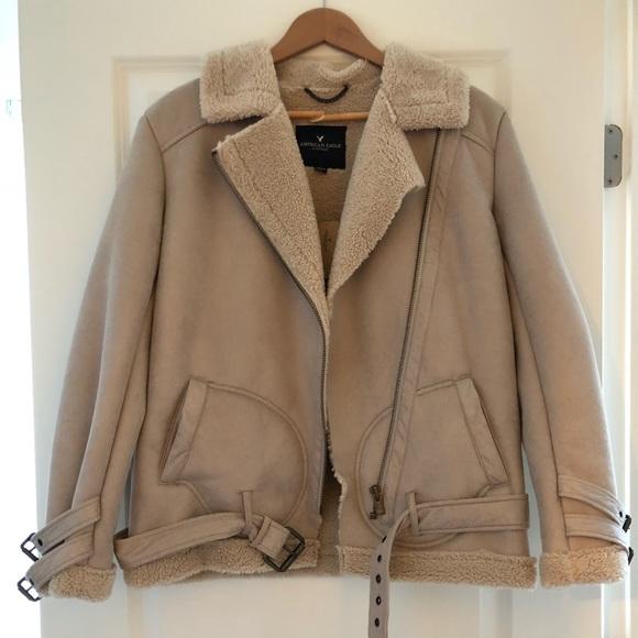 American Eagle AE Women Faux Suede Sherpa Lined Belt Moto Jacket Winter Coat NWT